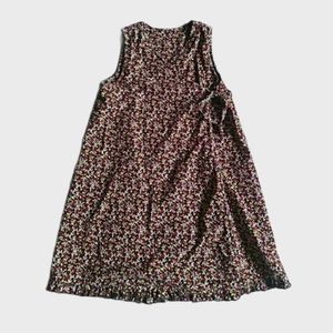 {Hanna Andersson) Brown Floral Corduroy Wrap Dress